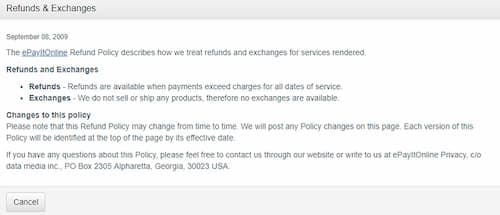 epayitonline Refunds policy
