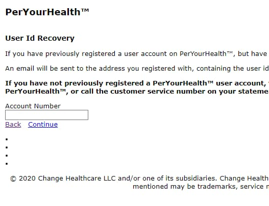 peryourhealth user id recovery
