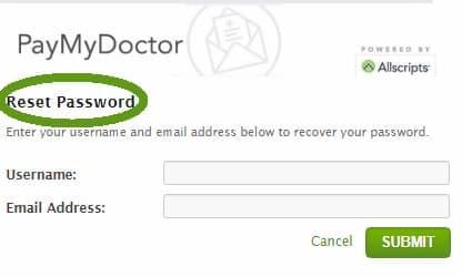 reset paymydoctor password